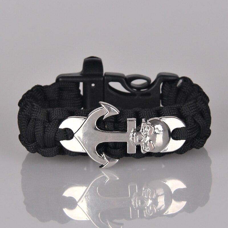 Zhejiang Yufei Jewelry Co., LTD Steampunk Anchor Paracord Bracelet Bracelet Silver Skull Survival Bracelet Men Jewelry Male Accessories Pulseira Masculina B0236