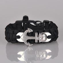 Steampunk Anchor Paracord Bracelet Bracelet Silver Skull Survival Bracelet Men Jewelry Male Accessories Pulseira Masculina B0236