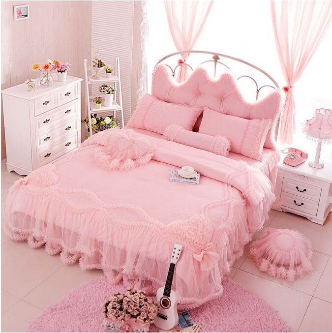 Cotton lace embroidery wedding bedding without filling for Cama kawaii