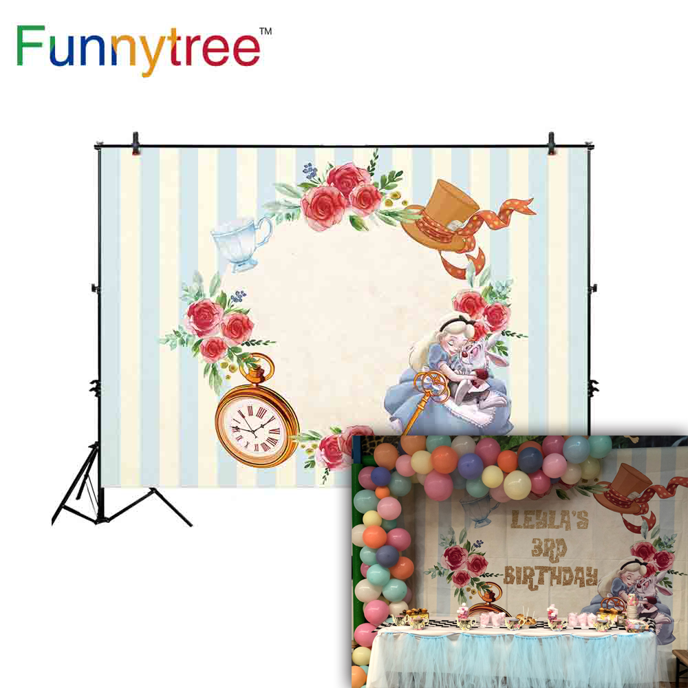 Funnytree Alice in Wonderland Backdrops for Girl Birthday Party Stripes Princess Flower Photography Background Photocall Banner