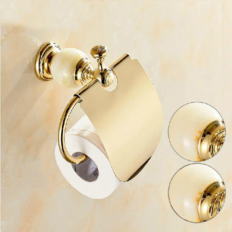 Free Shipping Wholesale And Retail Luxury Golden Finish Marble & Brass Paper Holder Wall Mounted Tissue Bar Roll W/ Cover
