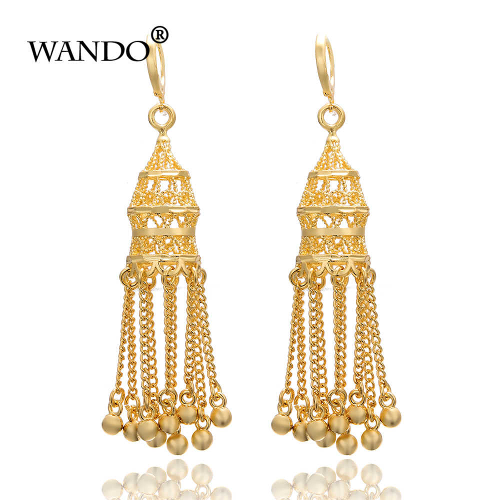 WANDO Ethnic Indian Birdcage Earring Women Antique Gold Color Egypt Drop Earring Retro Vintage Boho Ancient bride gifts Jewelry