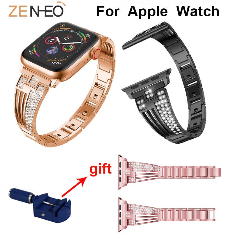 Metal Watches Strap For Apple Watch Series 4/3/2/1 38mm 42mm 40mm 44mm Rhinestone Bracelet Watch Band For Apple Watch Wristband
