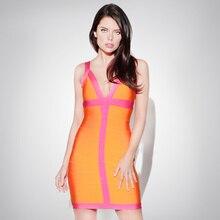 2015 neue frauen V-ausschnitt Bandage Kleid Bodycon Kleid Cocktail Party Kleid Orange HL1048 # XS S M L