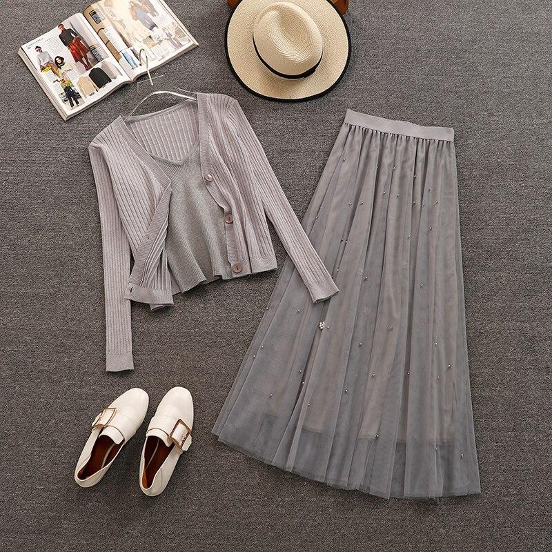 2019 Spring Women Long Sleeve Knitted Cardigan Vest Mesh Skirt 3 pcs sets Female Beautiful Dresses