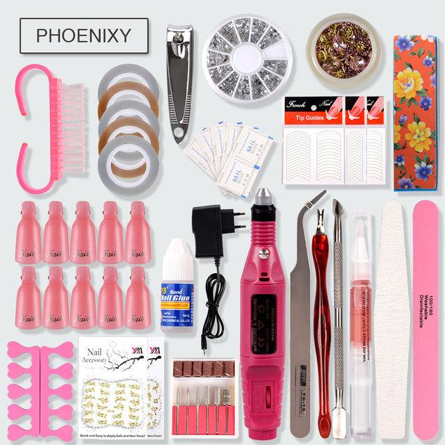 Professional Manicure Set With UV LED Lamp Nail Gel Polish Kit Soak Off Electric Nail Drill Machine Kit Complete Nail Art Tools 5