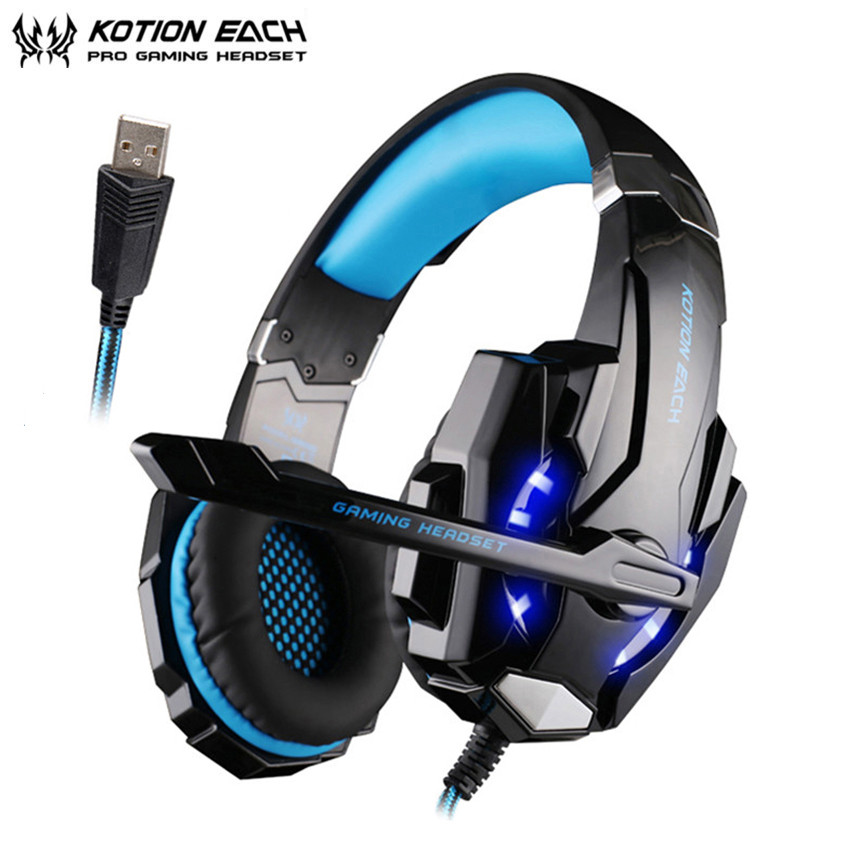 KOTION EACH G9000 PC Gamer Gaming Heaset casque USB 7.1 Virtual Surround Sound Stereo Headphone with Mic Led Light for Game kotion each g9000 gaming headphone headset stereo earphone headband with mic led light for tablet notebook ipad sp4 gamer xbox