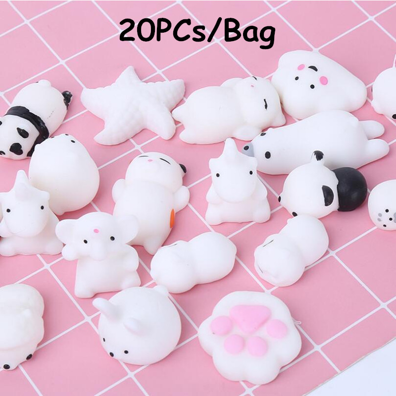 Mochi Squishy Toys 20 Pcs Mochi Kawaii Anime Squishy Animals Stress Toys Stress Relief Animal Toys Squeeze Toys