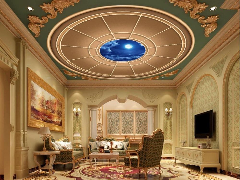 sky ceiling wallpaper Moonlight 3D round ceiling 3d customized wallpaper 3d ceiling murals wallpaper sky sky cadmium cd dvd
