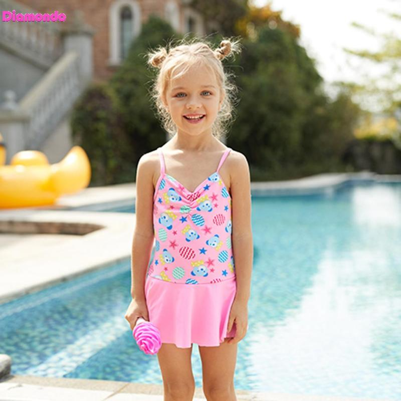 Baby Girls Swimsuit Sweet Girls One-Piece Swimwear Summer Children Beach Spaghetti Strap ...