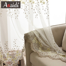 Flower embroidered tulle for living room window White embroidery voile curtains for bedroom organza curtain for kitchen blind