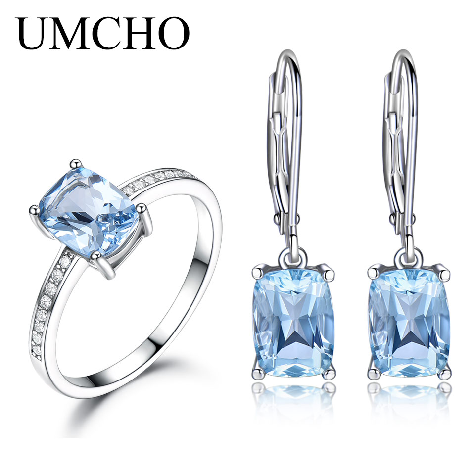 UMCHO 925 Sterling Silver Jewelry Set Chirstmas Gift Nano Sky Blue Topaz Gemstone Ring Drop Earrings For Women Fine Jewelry New