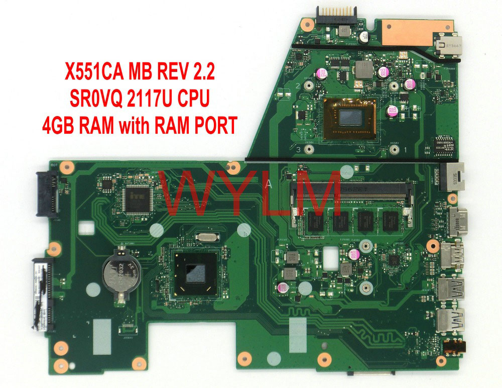 free shipping X551CA SR0VQ 2117 CPU 4GB RAM with RAM port mainboard For ASUS X551C X551CAP X551CA Laptop motherboard 100%Tested hot for asus x551ca laptop motherboard x551ca mainboard rev2 2 1007u 100% tested new motherboard
