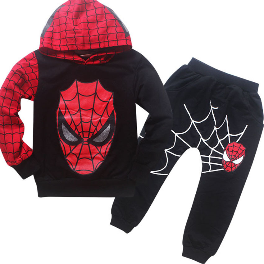 Spring Autumn Children's clothing Spiderman Costume Baby Boys Sport suits Spider - Man suit kids Toddler Boy Pullover Sets 2-7Y