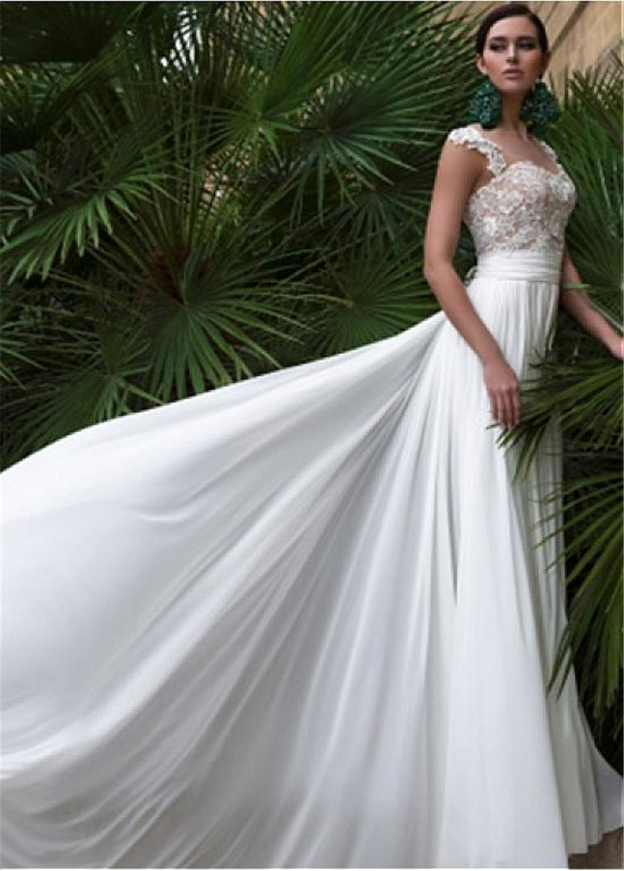 Graceful Chiffon Bateau Neckline A line Wedding Dresses with Lace Appliques Cap Sleeves Nude Bodice Bridal