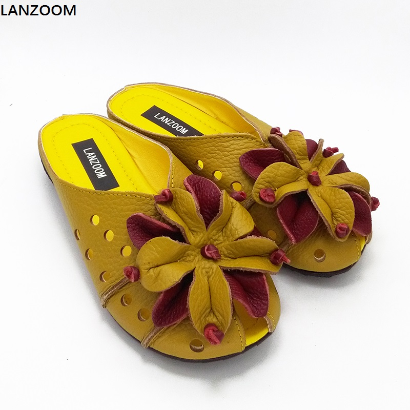 LANZOOM 2017 Fashion national style Handmade Shoes Genuine Leather flats women slippers Soft Comfortable big flowers