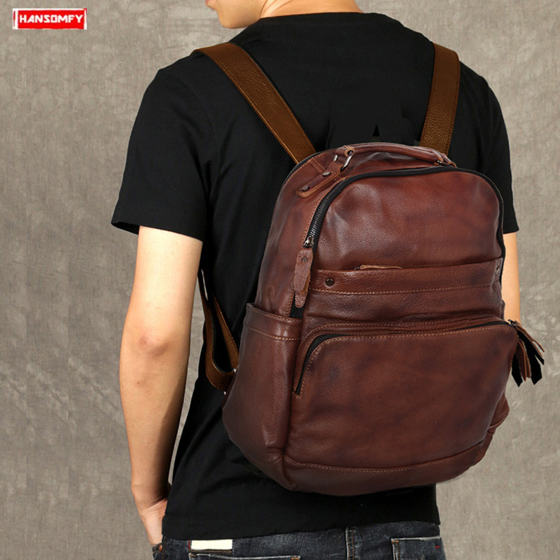 New Men's First Layer Cowhide Backpack Male 15.6 Laptop Shoulder Bag Simple Wild Fashion Trend Computer Bag Travel Backpacks