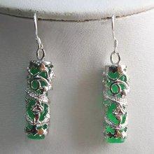 brinco wedding brincos moda pendientes earring Green Jade Dragon 925 Silver Earrings