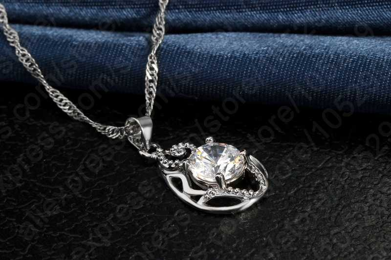Fabrik Preis 925 Sterling Silber Waterdrop Cubic Zirkon Anhänger Halsketten Set Frauen Kristall Braut Hochzeit Schmuck Sets