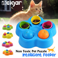 Nontoxic Pet Puzzle Intelligent Feeder Cats Kitty Interactive Toy Rotating Puppy Cat Feeders Pets IQ Puzzle Toy 24.5x5cm Plastic