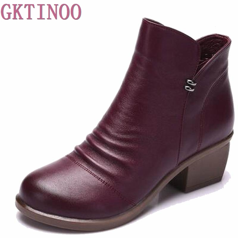 где купить Women Ankle Boots Heels Zip Casual Shoes Woman Black Gray Boots 100% Genuine Leather Plus Size 40 по лучшей цене