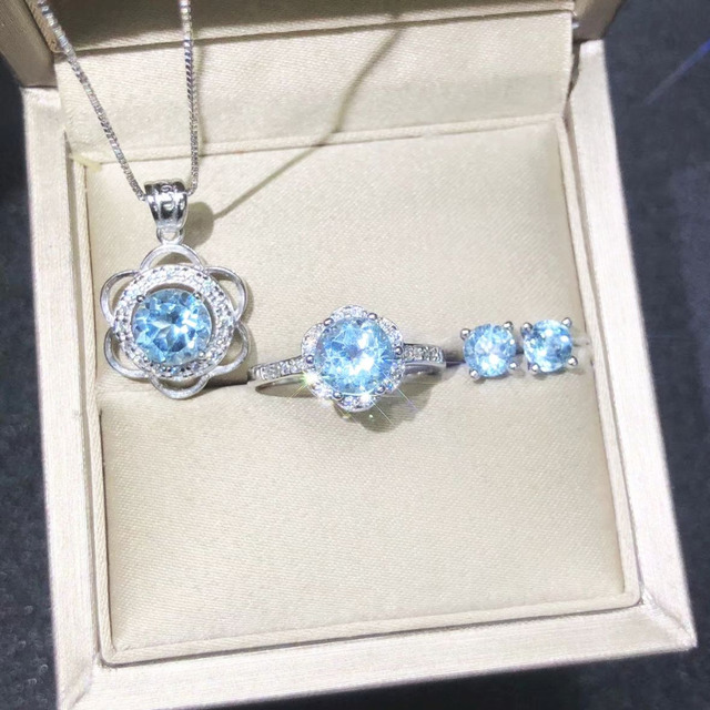 Light Blue Crystal Bridal Set Aquamarine Stone Jewelry Necklace Ring Earrings For Woman