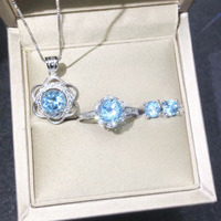 Light Blue Crystal Bridal Set Aquamarine Stone Jewelry Necklace/Ring/Earrings for Woman, 925 Sterling Silver Fine Jewelry Set