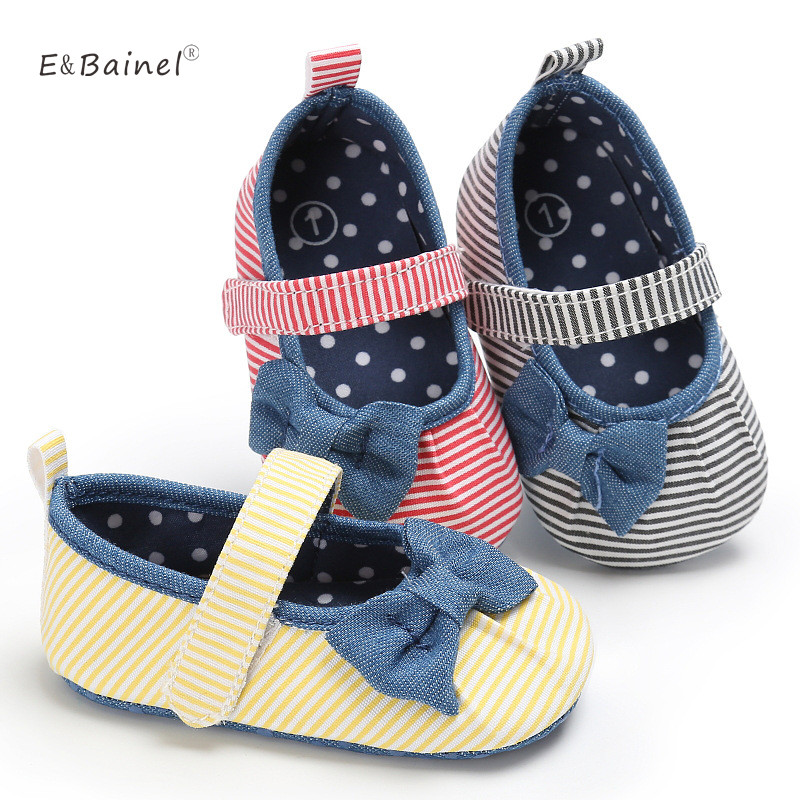 Newborn Infant Baby Shoes Cotton Striped Kids Toddler Crib Shoes Soft Soled Prewalker First Walkers Baby Girls Shoes
