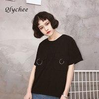 Qlychee Estate di Modo Magliette Harajuku Anello di Metallo Tasche T-Shirt Manica Corta T-Shirt