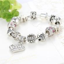 Fashion Luxury Style Women Bracelet 925 Unique Silver Crystal Charm Bracelet for Women DIY Beads Bracelets & Bangles Jewelry Gift