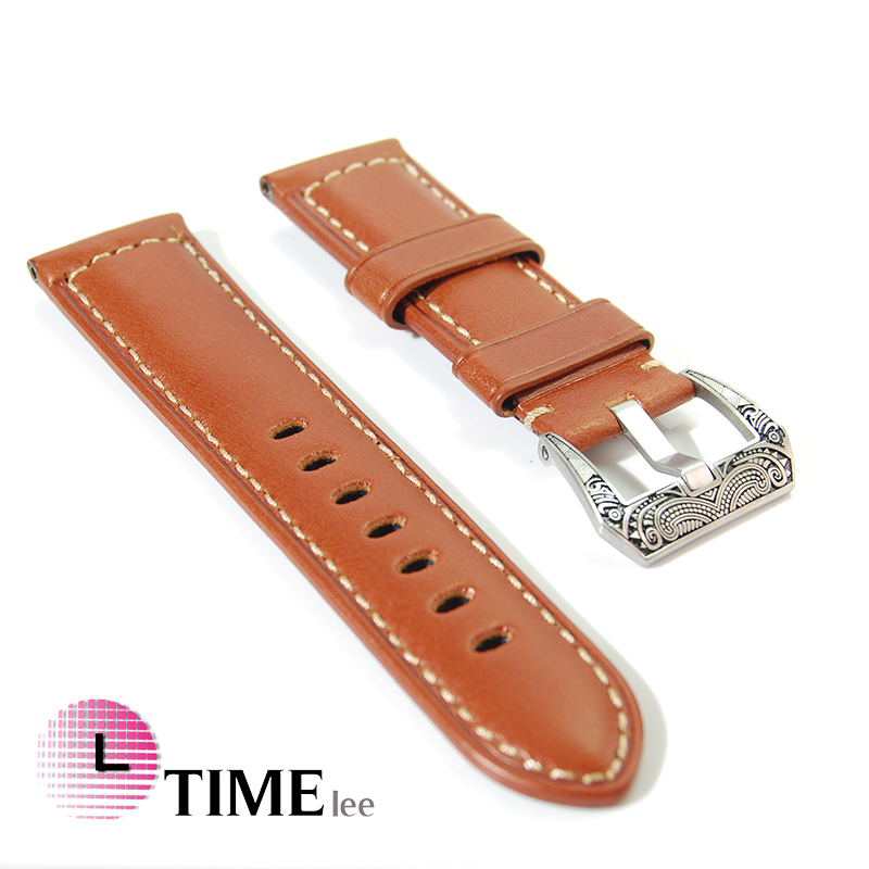 e7486d0db2f 24mm Genuine Leather Watchbands Italy Watch Band Strap for Panerai Belt  retro Stainless Steel Buckle