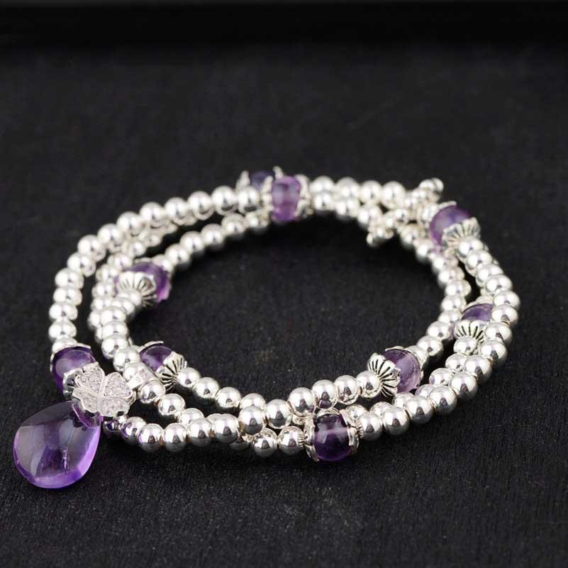 FNJ 925 серебряный браслет, украшенный бисером, цепочка с фиолетовыми кристаллами, очаровательные тайские S925 Серебряные Браслеты для женщин, ювелирные изделия - 2
