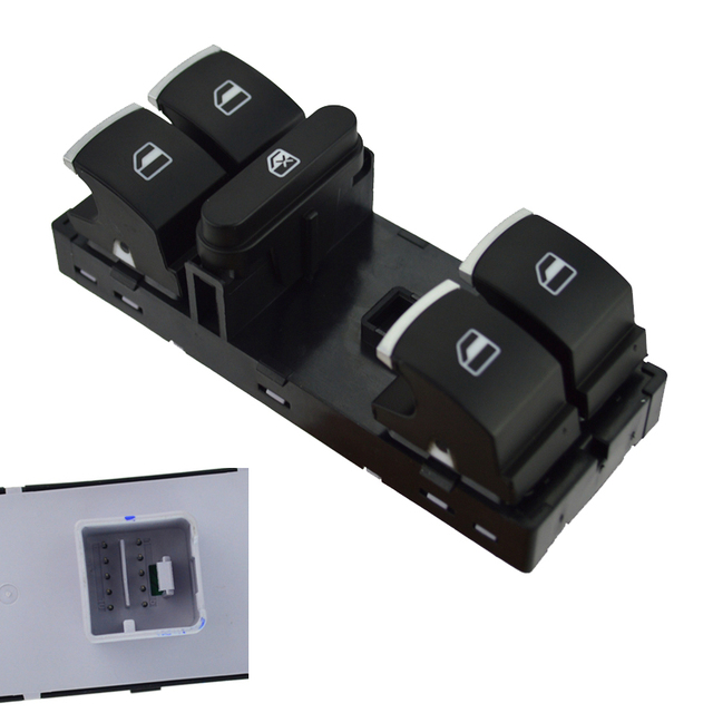runmade For VW CC Passat B6 Tiguan Jetta Golf Mk5 Mk6 4-Door Chrome Euro Windows Headlight Mirror Switch Set