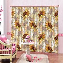 Customized size Luxury Blackout 3D Window Curtains For Living Room yellow curtains sunflower for girl room(China)