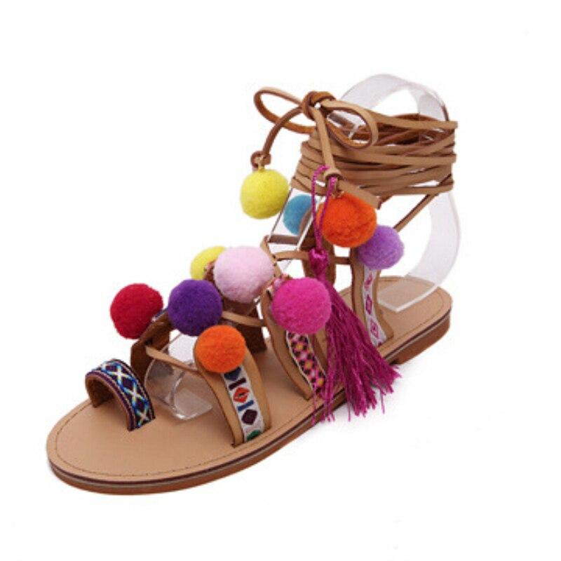 Gland La Chaussures Plage Mujer Femme Main Couleur De Gladiateur Sandales Zapatos Croix Bohème Fuzzy Plat Liée Bottes Boule À rtsxBQCdh