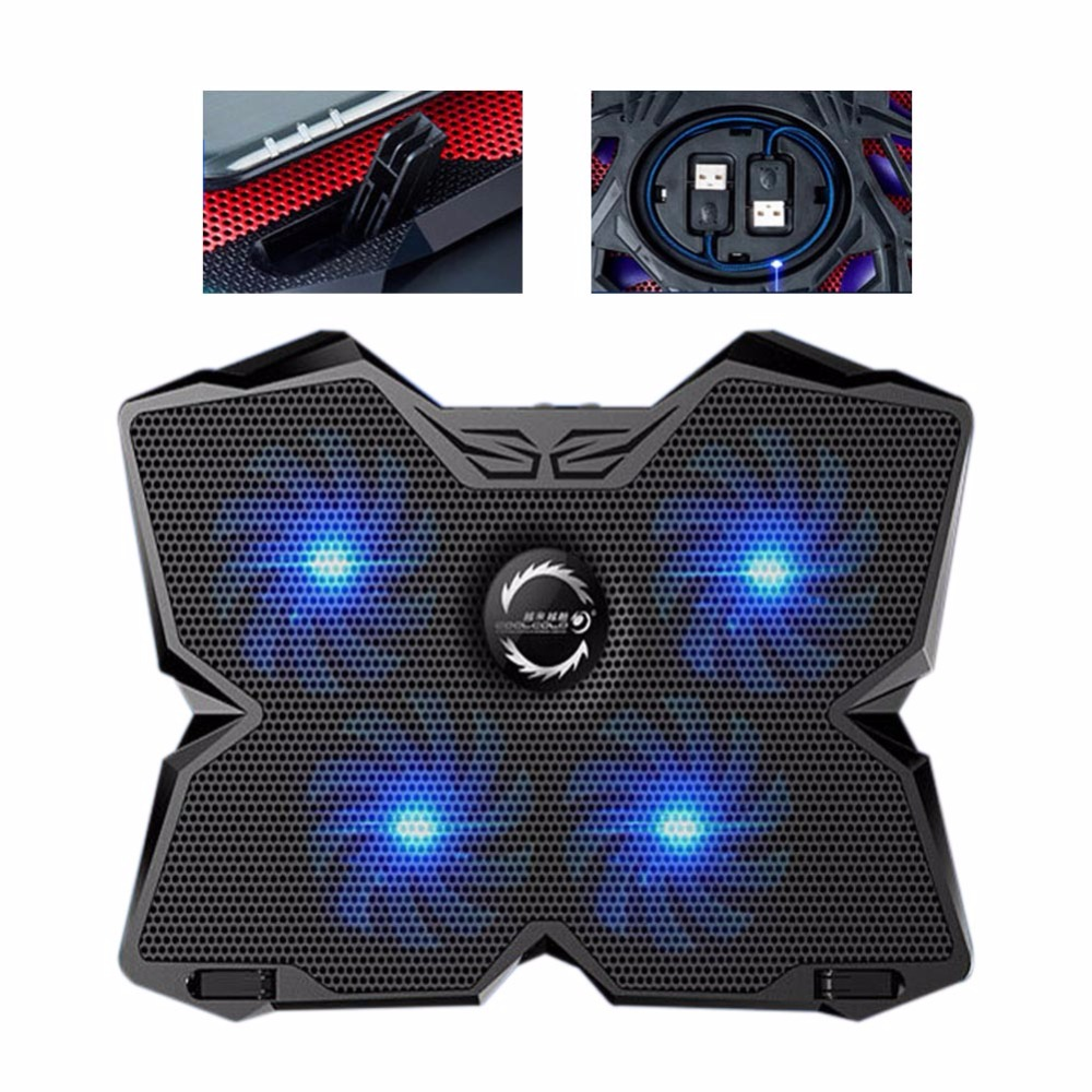 New Notebook Cooling Fan Laptop Cooler Pad 4 Fans 2 USB Port Stand Pad Ventilador USB Cooler for Laptop PC 15.6 to 17 3 fan usb powered aluminum laptop cooling pad