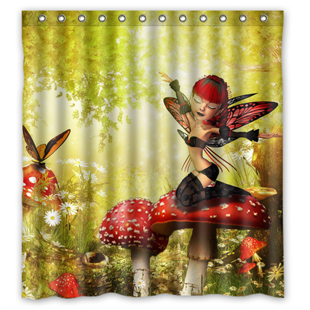 Elf On The Mushroom Custom Design Bath Bathroom Curtains Waterproof Shower Curtain Size 48x7260x72