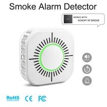Detector de fumaça sem fio compatível com sonoff ponte rf para a segurança de alarme de casa inteligente 433 mhz sensível super longa vida de espera
