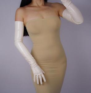 Image 2 - Womens ultra long faux patent leather PU leather long design fashion black color 40cm, 50cm, 60cm, 70cm length R598