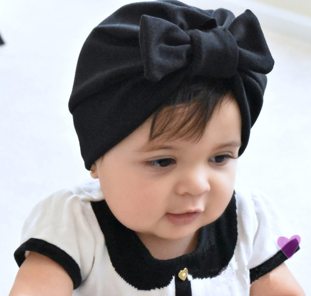 Newborn Baby Hat Baby turban hats with bow turbans for tots Infant toddler  Top Knot beanie 7d04db01180