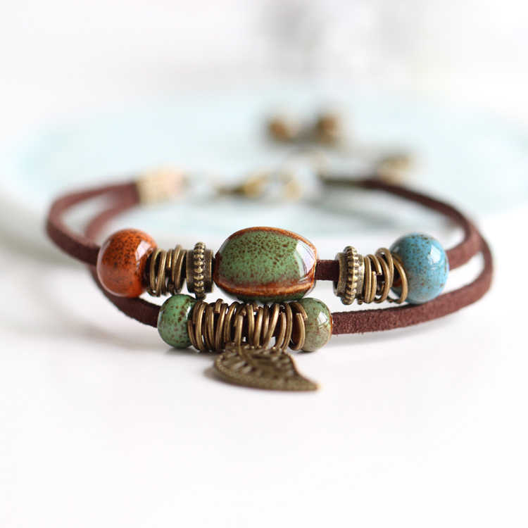 National Wind Restoring Ancient Ways Is The High Temperature Glaze Ceramic Handmade Trinkets Women's Fashion  Bracelets #1077