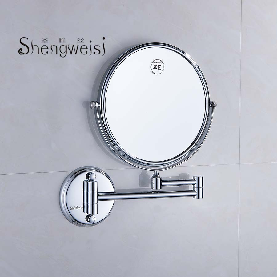 Shengweisi Wall Mounted Brass Bathroom Accessories 1/3/5X Mirror Adjustable Distance Round Chrome Finished Makeup Mirror Espelho