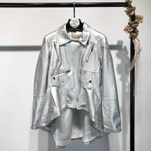 F W 2018 mujeres de oro plata gris de manga larga asimétrica Faux brillante Pu  cuero Zipper Biker chaqueta  Zip chaqueta de la m. f4548a51ae07