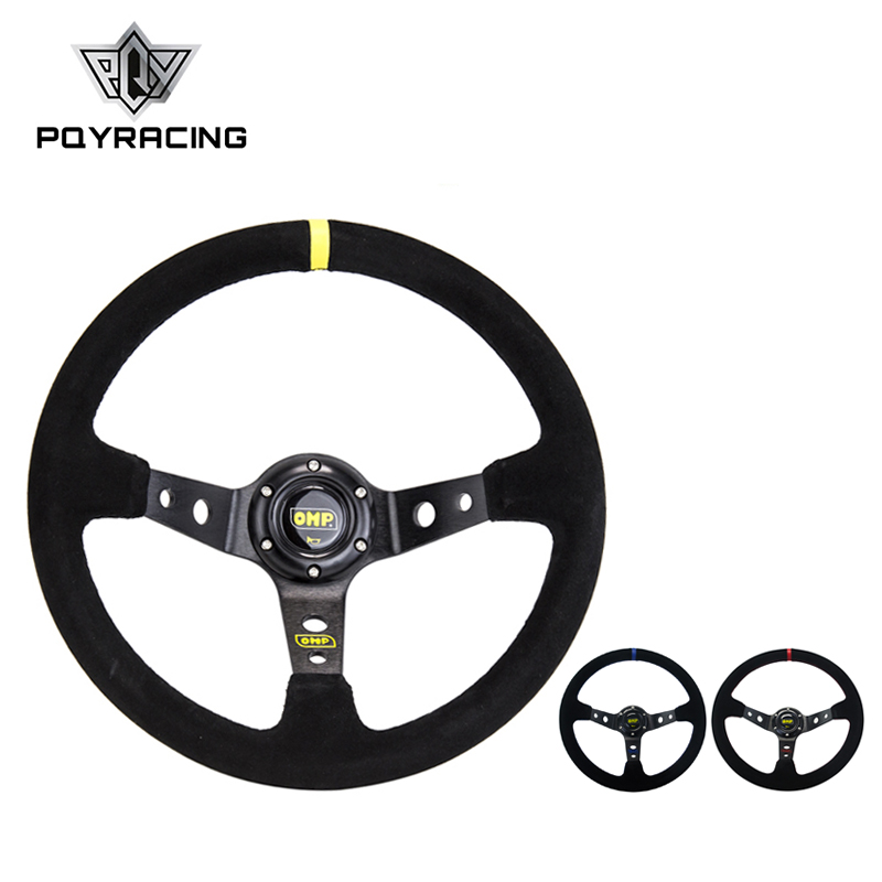 14inch 350mm OMP Deep Corn Drifting Suede Leather Steering Wheel / Universal Car Auto Racing Steering wheels 3/Colors PQY-SW21