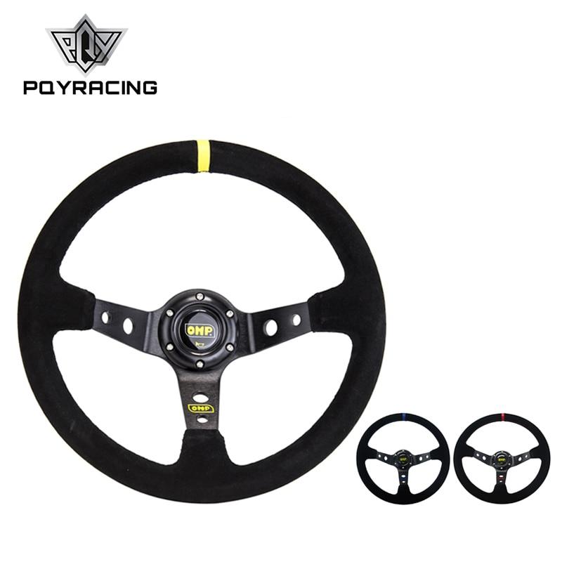 цена на 14inch 350mm OMP Deep Corn Drifting Suede Leather Steering Wheel / Universal Car Auto Racing Steering wheels 3/Colors PQY-SW21