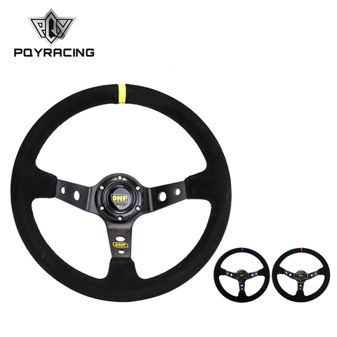 14inch 350mm OMP Deep Corn Drifting Suede Leather Steering Wheel / Universal Car Auto Racing Steering wheels 3/Colors PQY-SW21 Pakistan