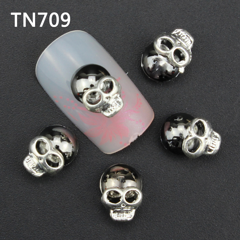Blueness 10pc Black Alloy Glitter 3D Nail Art Skull Decorations Rhinestones,Alloy Nail Charms,Jewelry Nails Salon Supplies TN709 10pcs pack glitter green rhinestones nail art decorations alloy 3d nail jewelry charms nails tools free shipping