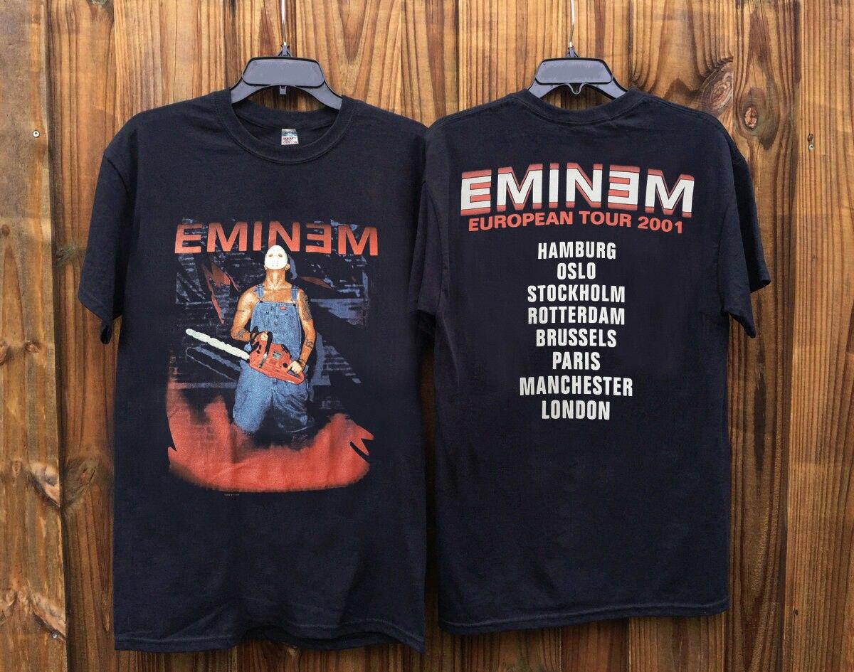 Eminem European Tour 90s Hip Hop Rap Tee Promo RARE hot new Print   T     Shirt   Men Summer Style Fashion top tee