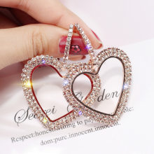 Crystal Rhinestone Hollow Heart Drop Earrings for Women Fashion ZA Jewelry Korea Shiny Earrings Party Brincos(China)