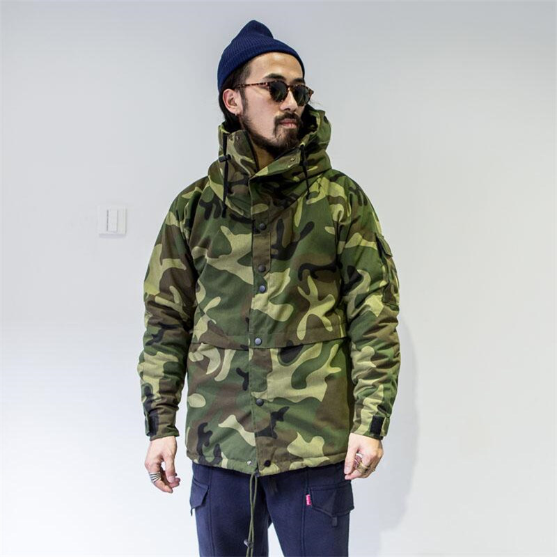 Winter Parka Men Camouflage Casual Hooded Coats Male Thicken Thermal Slim Thin Coat Zipper Army Green Outerwear A5046